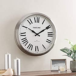 FirsTime & Co. Steel Hamilton Whisper Clock, American Crafted, Brushed Steel, 22 x 3.75 x 22