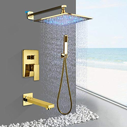 Why Choose Modern Gold Bathroom Shower Faucet Set 12 inch Rainfall LED Shower Head Shower Arm Valve ...