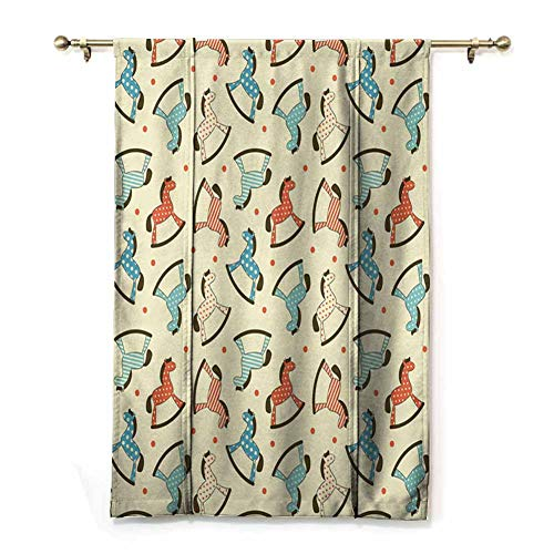 Roman Curtains for Windows Printed Curtain Dotted Background Pattern with Toy Rocking Horses Children Playthings Colorful with Beautiful Patterns (Rod Pocket Panel, Width 28' x Length 72')