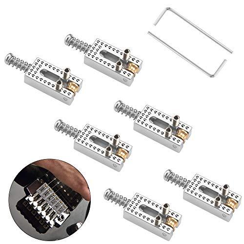 6 Piezas Cuerdas Puente de Guitarra Bajo, Puente de Guitarra Eléctrica Guitar Bridge String Saddles para Guitarras Eléctricas y Bajos Eléctricos, con 2 Piezas Llaves