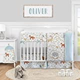 Sweet Jojo Designs Woodland Animal Toile Baby Boy or Girl Nursery Crib Bedding Set - 5 Pieces - Blue Grey Brown and Orange Forest Bear Deer Fox