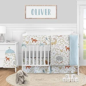 Sweet Jojo Designs Woodland Animal Toile Baby Boy or Girl Nursery Crib Bedding Set – 5 Pieces – Blue Grey Brown and Orange Forest Bear Deer Fox