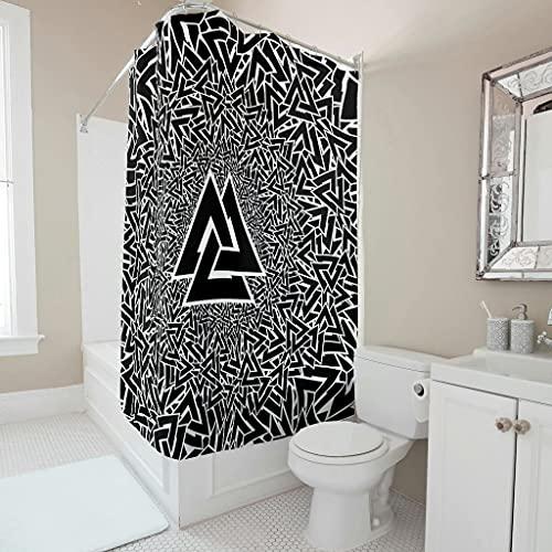Viiry Cortina de ducha – vikinga Valknut personalizado inoxidable cortinas de baño Set blanco 150 x 180 cm