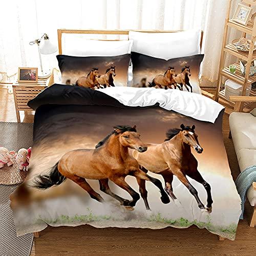 Bedclothes-Blanket Funda nórdica 3D Lila,Caso 3D Impresión Digital Animal Ejecutar Caballo Ropa de Cama de Tres Piezas-2_173 * 218