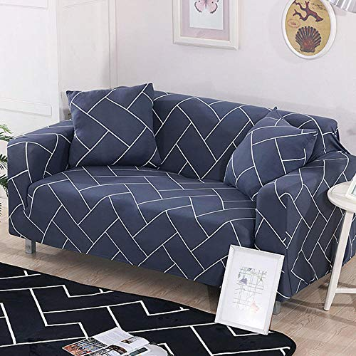Waterproof Sofa Protectors from Pets Dogs Living Room Dark Blue Brick Couch Covers Seat Cover Non-Slip Furniture for Sofa with Strap Soft Thick Quilted Reversible 235-300Cm