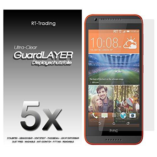 5x HTC Desire 620 - Bildschirm Schutzfolie Klar Folie Schutz Bildschirm Screen Protector Bildschirmfolie - RT-Trading