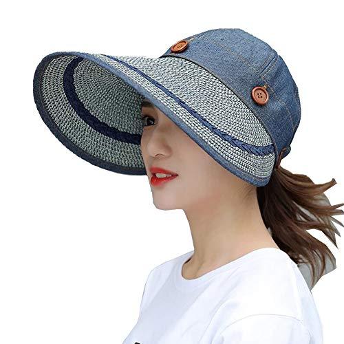 ZX-cappello Donna Reversibile 2 in 1 Largo Tesa Floscio Cappello UV Protezione Spiaggia Glof Sole Berretto (Colore : Cowboy Blue, Dimensioni : 54-60cm)