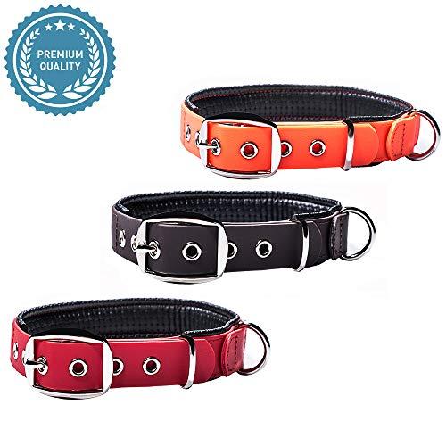 PetTec Hundehalsband aus Trioflex™ mit Polsterung, Wetterfest, Wasserabweisend, Robust (Rot, Braun, Schwarz, Orange)