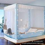 Cama mosquitera anti caída con tres puertas de impresión con cremallera superior cuadrada 1.5 metros 1.8 cama doble hogar Nubes 1.5m (5 pies) cama
