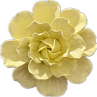 BestBang Handmade Ceramic Rose Flowers Three-Dimensional TV Sofa Background Wall Decorations Creative Living Room Ornaments (Yellow Camellia, 4.72'')