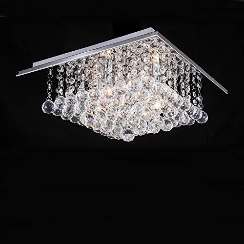Quadratischer Kristallleuchter mit 4 Leuchten, JJGD Modern Brilliant Glass Droplet K9 Kristall Deckenleuchte Unterputz LED Pendelleuchte für Esszimmer Schlafzimmer Wohnzimmer L38cm B38cm H23cm