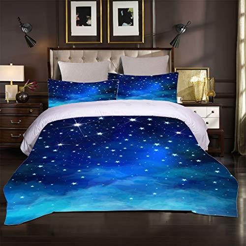Funda Nórdica Fantasía Galaxia Espacio Exterior Universo Cielo Estrellado Nocturno Brillante Ropa de Cama de Microfibra Suave 2/3 Piezas para Niños Sueño Cómodo (Azul 1,230_x_260_cm Cama 150 cm)
