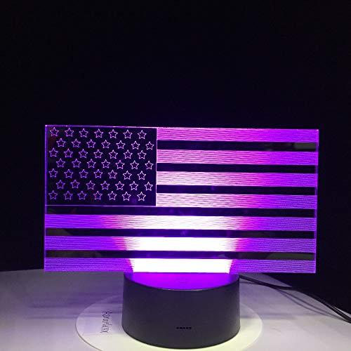 Gradientes coloridos creativos Ambiente Visual 3D Bandera de dólar de EE. UU. Luz de noche LED Lámpara de mesa USB Mesita de noche Decoración para el hogar Regalo 3D
