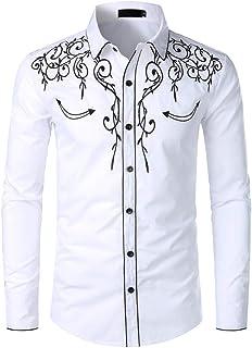 U/A Camicia Da Cowboy Degli Uomini Disegno Ricamo Slim Fit Casual Manica Lunga Camicie Mens Festa Di Nozze Camicia per Mas...