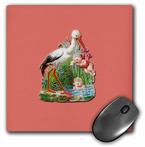 3dRose LLC mp_170379_1 Mauspad, viktorianischer Storch mit einem Baby im Teich spielend
