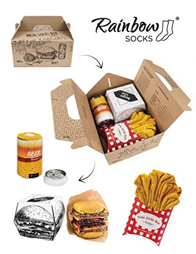 Rainbow Socks - Men Funny Meal Socks Box - 2 Pairs - Burger Fries Bier