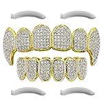 24K Gold Plated Iced Out Grillz Con Diamanti Micropave CZ + 2 barre di modifica EXTRA