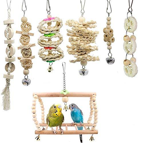 zfdg Juguetes para Pájaros Columpio, 7 Piezas Pájaros Escalera de Madera, Jaula Pajaros Bite Toy, Juguetes Masticar Loros, para Loros Cacatúas Pinzones Guacamayos Columpio Juguete Masticable