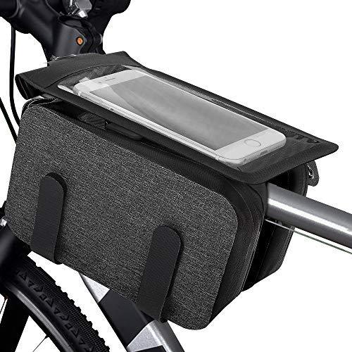 MoKo Sacoche de Cadre Vélo, Sac de Cadre de Vélo Étanche, Accessoires pour Vélo, Support 6.5 Pouces Smartphone Universel Sacoche Vélo Sac avec Écran Tactile pour Vélo/VTT - Noir + Gris
