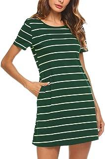 Women's Casual Striped Criss Cross Short Sleeve T Shirt Dress