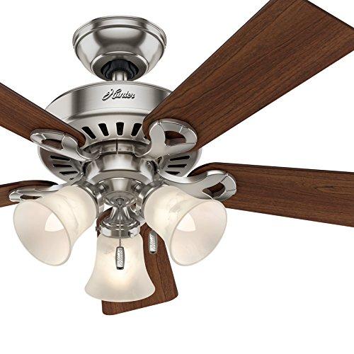 Hunter Fan 44in Brushed Nickel Ceiling Fan with Swirled Marble Glass Light Kit, 5 Blade (Renewed)