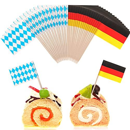 300 Stücke Bierfest Bambus Zahnstocher Flaggen Blau & Weiß Bayerische Flagge Deutsche Flagge Kuchen Topper Dekorationen Bierfest Thema Party Zubehör