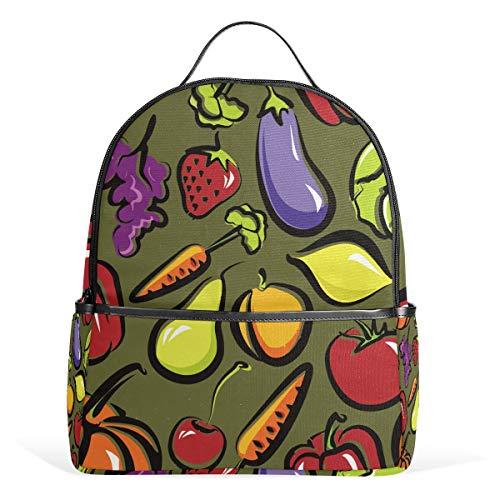 Eslifey Lustige Obst- und Gemüseschale, Büchertasche, Schulranzen, Tagesrucksack für Studenten