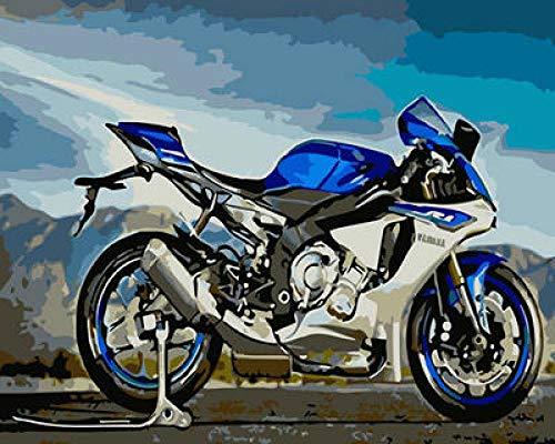 No-merk digitaal schilderij motorfiets blauw olieverfschilderij DIY canvas voorgedrukt geschenk kunst schilderen met cijfers voor volwassenen kinderen en beginners 40 x 50 cm