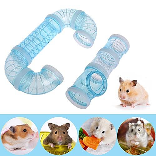 8PCS Túnel de Hámster, Túnel de Conexión Jaula Hamster, Hámster Tubo Play Túnel para Hamster Cage Small Pet Pipe Connection Sports Tunnel Toy para Conexión Creativa, Ampliar el Espacio (Azul)