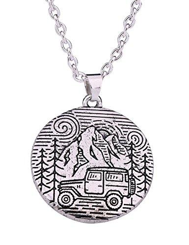 Halskette mit Landschaftsmuster, Berge und Bäume, für Wanderungen, Camping und Outdoor-Liebhaber