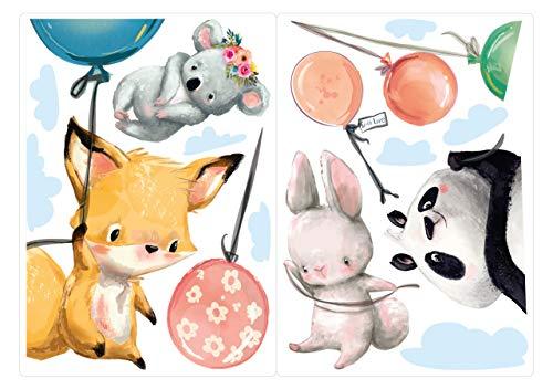 dekodino® Fenstersticker Kinderzimmer Aquarell Fuchs Hase Koala