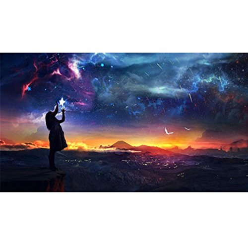 Lavany 5D Diamond Painting By Number Kits Full Drill Crystal Rhinestone Diamond Embroidery Paintings Pictures Arts Craft for Wall Decor,Stamped Cross Stitch Kits (B◆Night sky girl)