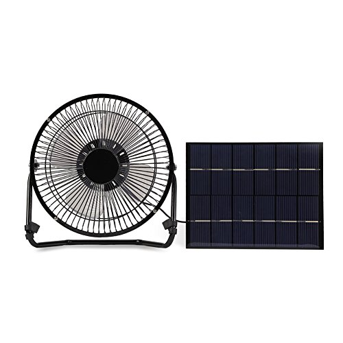 5.2W USB Solar Panel Powered Mini Portable Fan for Cooling Ventilation Outdoor Home Travelling Chicken House Car Ventilation System 8 Inch