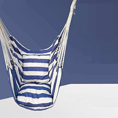 dehong XXL Drehwirbel Für Hängesessel with Kissen,100x130cm (Bis 200kg Belastbar) Blaue Und Weiße Streifen Ohrensessel für Den Innenbereich, Robuster Stoff, Drinnen Und Draußen