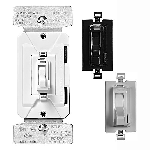 EATON TAL06P2-C5 AL Series 300W All Load 3-Way & Single Pole Toggle Dimmer with Preset and Color Kit, Black, White and Grey