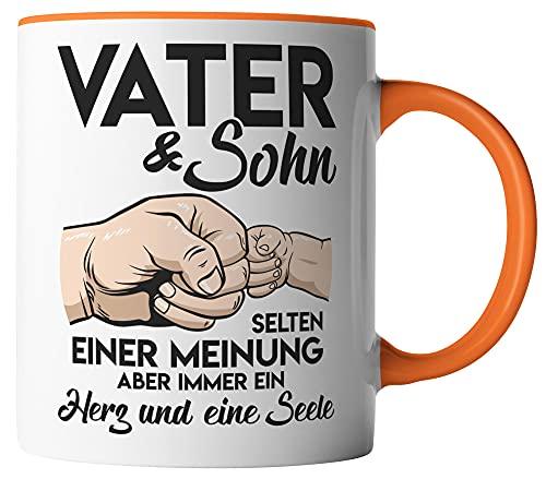 vanVerden Taza – Vater & Sohn – selten einer Meinung – Tazas para el Día del Padre – Impresas por ambos lados – Idea de regalo – Tazas de café, color blanco/naranja