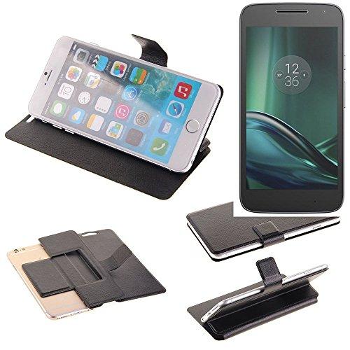 K-S-Trade Caso De Protección Cubierta del Tirón para Lenovo Moto G Play, Negro | Estilo del Libro Cartera Cubierta Delgada