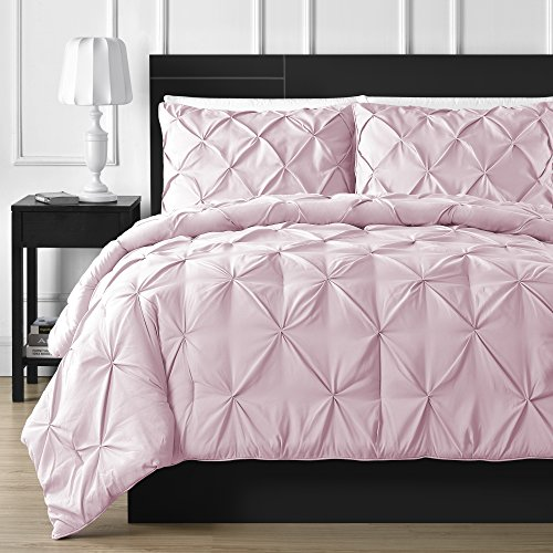 Comfy Bedding Double Needle Durable Stitching 3-Piece Pinch Pleat Comforter Set All Season Pintuck Style, Full, Pink
