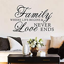 FlyWallD Family Quotes Wall Decal Bedroom Love Saying Sticker Home Vinyl Art Decor Family Where Life Begins and Love Never Ends