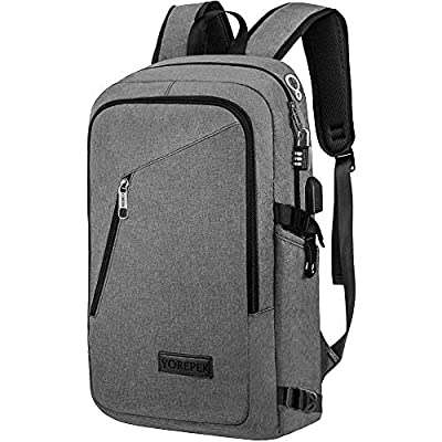 College Backpack For Men,Laptop Backpack with USB Charging Port Headphone Interface, Anti-Theft Travel Business Backpacks Water Resistant School Bookbag Fits 15.6 Inch Laptop(Gray) by Jamesay