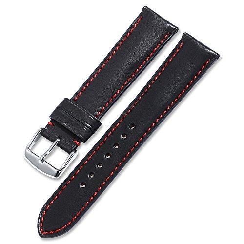 Uhrenarmband echtem Kalbsleder Leder iStrap Watch Band Quick Release Lederarmband Ersatz-Watch Armband mit Edelstahl Metall Schließe 18 mm 19 mm 20 mm 21 mm 22 mm