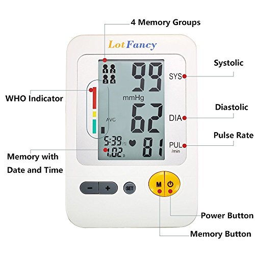 LotFancy Upper Arm Blood Pressure Monitor, 4-Users, 120 Memory, Fully Automatic Blood Pressure Monitor with Medium Cuff, Digital BP Meter with Large LCD Display, Storage Bag Included