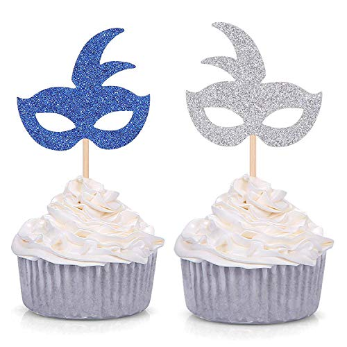Silver and Royal Blue Mardi Gras Mask Cupcake Toppers Theme Party Birthday Decorations - 24 CT