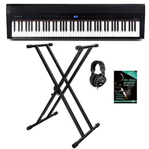 Steinmayer P-60 SM Stagepiano Stage Set (88 Tasten, Hammermechanik, Anschlagdynamik, 128-fach polyphon, 14 Sounds, inkl. X-Keyboardständer, Kopfhörer, Notenhalter, Netzteil & Noten) Schwarz