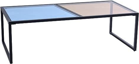 Tangkula Coffee Table Modern Glass Top Metal Frame Rectangular Living Room Furniture Blue and Tan