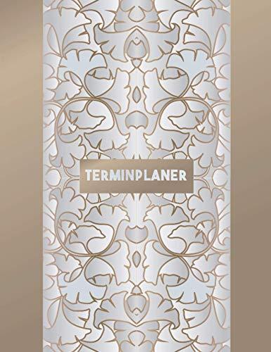 Terminplaner: Kosmetikstudio & Nagelstudio DATEN Kalender | 8AM - 8PM Friseur Salon Terminbuch | Mon - Son Beauty Tageskalender | Inkl. Kundenbuch | Gold Silver Leaves