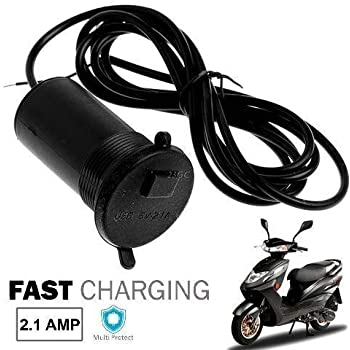 Ceuta Retails Motorcycle Handlebar Mount USB Charger Socket 2.1A 9V with USB Charging System for Mobile, Tablet, Portable Music Player and GPS