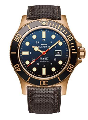Glycine Men's GL0200 Combat Sub 48 Bronze Automatic 48mm Blue Dial Brown Leather