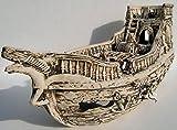 Deko Aquarium Boot XXL Höhle Wrack Fische Keramik Dekoration Schiff groß Neuware
