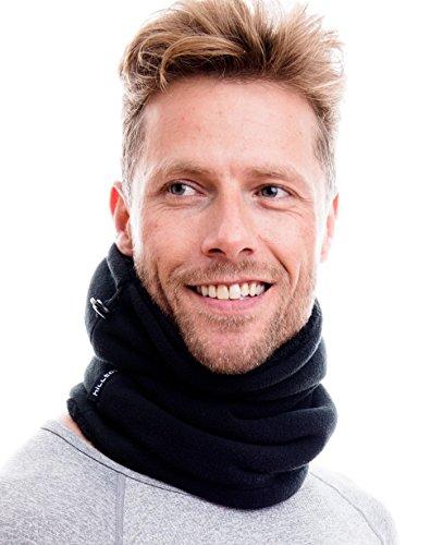Hilltop Polar Multifunktionstuch/Motorradmaske/Skimaske/Kälteschutz/Gesichtsmaske/Halswärmer/Polar Halstuch mit Kordelzug 100% Fleece, Design/Farbe:schwarz doppellagig mit Teddy Fleece